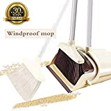 Broom and Dustpan Set with Lid [2019 New Design] Outdoor Or Indoor Broom Dust Pan 3 Foot Angle Heavy...