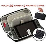 Nintendo Switch Accessories Case - (29 Game Cartridges and 2 Micro SD Card Holders) Protective Hard...