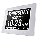 SVINZ 8' Digital Calendar Alarm Day Clock with 3 Alarm Options, Extra Large Non-Abbreviated Day &...