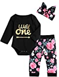 Baby Girls Floral Outfit Set Wild One Pant Clothing Set with Headband (12-18 Months, Black Long)