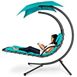 Best Choice Products Outdoor Hanging Curved Chaise Lounge Chair Swing for Backyard, Patio w/...