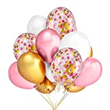 30Pcs Gold & Pink & White Color Latex Balloons and 12Pcs 12 Inches Gold & Pink & Light Pink Confetti...