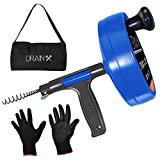 Drainx Pro 35-FT Steel Drum Auger Plumbing Snake | Drain Snake Cable with Work Gloves and Storage...
