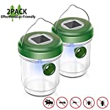 EOMOO Non-Toxic Wasp Trap, Reusable Solar Outdoor Fly Trap with Ultraviolet LED Light- Effective and...