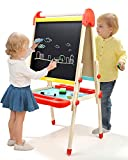 TOP BRIGHT Wooden Kids Art Easel Paint,Toddler Easel Adjustable with Paper Roll,Child Easel with...