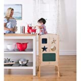 Guidecraft Classic Kitchen Helper Stool - Natural: Adjustable Height, Folding Step Stool for Little...
