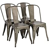 Yaheetech Iron Metal Dining Chairs Stackable Side Chairs with Back Indoor-Outdoor...