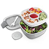 Bentgo Salad (Gray) BPA-Free Lunch Container with Large 54-oz Salad Bowl, 3-Compartment Bento-Style...