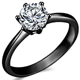 Jude Jewelers 1.0 Carat Classical Stainless Steel Solitaire Engagement Ring (Black, 12)