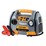 POTEK Jump Starter Source with 150 PSI Tire Inflator/Air compressor,900 Peak Amps Power Station with...