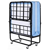 Inofia Foldable Folding Bed, Rollaway Extra Guest Bed with 5 Inch Memory Foam Mattress and Portable...