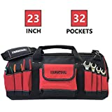 DURATOOL 23-inch Heavy Duty Large Tool Bag with 32 Pockets Adjustable Strap Wide Mouth Waterproof...