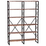 IRONCK Bookshelf, Double Wide 6-Tier 70' H Open Bookcase Vintage Industrial Style Shelves Wood and...