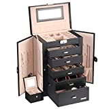 Homde 2 in 1 Huge Jewelry Box/Organizer/Case Faux Leather with Small Travel Case, Gift for Girls or...