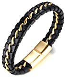 Halukakah  Solo  Men's Genuine Leather Bracelet with Titanium Chain Golden 8.46'(21.5cm) with Free...