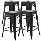 Metal Stools Bar Stools 24 Inch Height Stackable Barstools Indoor Outdoor Dining Backless Kitchen...