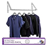 Stock Your Home Retractable Closet Rod and Clothes Rack - Wall Mounted Folding Clothes Hanger Drying...