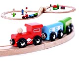 Cubbie Lee Premium Wooden Train Set Toy Double-Sided Train Tracks, Magnetic Trains Cars &...