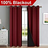 NICETOWN 100% Blackout Curtains with Black Liner Backing, Thermal Insulated Curtains for Living...