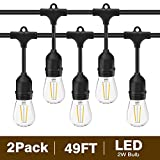 Svater 2 Pack S14 LED String Lights 49Ft Waterproof IP65 Commercial Grade Outdoor String Light UL...