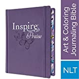 Tyndale NLT Inspire PRAISE Bible (Hardcover LeatherLike, Purple): Inspire Coloring Bible-Over 500...