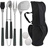 POLIGO 7pcs Golf-Club Style BBQ Grill Tool Set with Rubber Handle - Stainless Steel Barbecue...