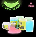 Kicko Glow in The Dark Slime - 6 Pack - Assorted Neon Colors - Great Toy for Any Child Favor, Gift,...