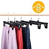 HOUSE DAY Skirt Hangers 25 Pcs 10inch Black Plastic Pants Hangers with Non-Slip Big Clips and 360...