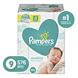Pampers Sensitive Water-Based Baby Diaper Wipes, 9 Refill Packs for Dispenser Tub - Hypoallergenic...