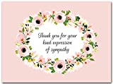 25x Funeral Thank You Cards with Envelopes - Blank Floral Sympathy Acknowledgement Thank You Notes...