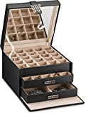 Glenor Co Earring Organizer Holder - 50 Small & 4 Large Slots Classic Jewelry Box with Drawer &...