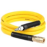 Hromee Hybrid Rubber & PVC Lead-in Air Hose 3/8 Inch x 6FT with Solid Brass 1/4' Industrial NPT...