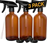 Nylea 3 Pack Refillable 16 oz Empty Amber Glass Spray Bottles [Free Phenolic Cap and Pipette] Great...