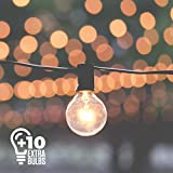 50ft Black String Lights, 60 G40 Globe Bulbs (10 Extra): Connectable, Waterproof, Indoor/Outdoor...