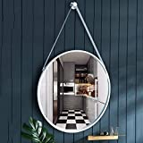 RXY-mirror Nordic Hanging Mirror Wrought Iron Mirror, Metal Hanging Mirror | Paint Process (Color :...