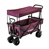 ENKEEO Foldable Utility Wagon Collapsible Sports Outdoor Cart with Removable Canopy, Large Capacity...