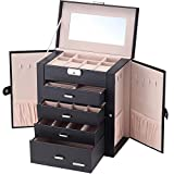 Homde Synthetic Leather Huge Jewelry Box Mirrored Watch Organizer Necklace Ring Earring Storage...