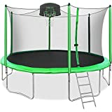 Merax 14FT Trampoline with Safety Enclosure Net, Basketball Hoop and Ladder, Trampoline for Kids...