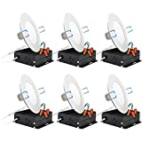 Sunco Lighting 6 Pack 4 Inch Slim LED Downlight with Junction Box,10W=60W, 650 LM, Dimmable, 4000K...