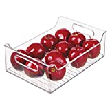 InterDesign Plastic Fridge and Freezer Storage Organizer Bin With Handles, Clear Container for Food,...