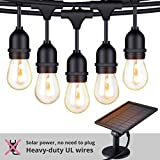 Foxlux Solar String Lights - 48FT LED Outdoor String Light - Shatterproof, Waterproof Pergola Lights...