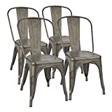 Furmax Metal Dining Chair Indoor-Outdoor Use Stackable Classic Trattoria Chair Chic Dining Bistro...