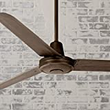 60' Turbina Modern Industrial Outdoor Ceiling Fan with Light Remote Control Oil Rubbed Bronze Damp...
