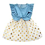 Girls Dress, Princess Dresses Sleeveless Denim Tops Floral Tutu Skirts (3-4 Years, Gold)