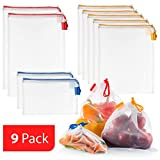 Vandoona Reusable Produce Bags Set of 9, Strong See Through Washable Premium Mesh Reusable Bags for...