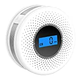 Combination Smoke and Carbon Monoxide Detector with Display, Battery Operated Smoke CO Alarm...