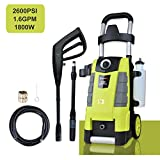 Electric Pressure Washer 2600PSI 1.6GPM Power Washer with Spray Gun 25ft High Pressure Hose...