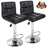 Counter Height Bar Stools Set of 2 PU Leather Swivel BarStools For Kitchen Stool Height Adjustable...