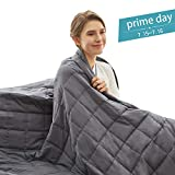 Weighted Idea Cooling Weighted Blanket 15 lbs Queen Size (60''x80'', 100% Natural Cotton, Grey)