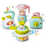 Gizmovine Play Kitchen Accessories, 4PCs Mini Simulation Musical Kitchen Toys for Kids Cooking Set...